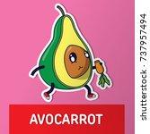 avocado with carrot. cartoon... | Shutterstock .eps vector #737957494