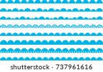 Scalloped Border Blue