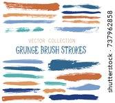 hipster paint brush strokes... | Shutterstock .eps vector #737962858