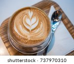 a cup of coffee in cafe. | Shutterstock . vector #737970310