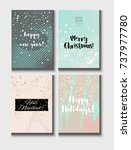 christmas card vector set with... | Shutterstock .eps vector #737977780