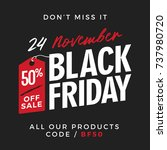 50  off black friday super sale ... | Shutterstock .eps vector #737980720