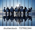 business people in a board room ... | Shutterstock . vector #737981344