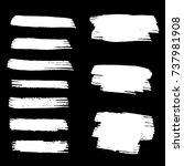 set of hand painted white brush ... | Shutterstock .eps vector #737981908