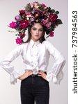 portrait of a girl model in a... | Shutterstock . vector #737984563
