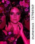 portrait of a girl model in a... | Shutterstock . vector #737984569