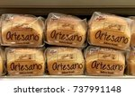 Small photo of Alameda, CA - October 05, 2017: Grocery store shelf with loaves of Alfaro's Artesano bakery bread, the NEWEST addition to the Sara Lee brand.