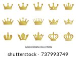 gold crown icon collection | Shutterstock .eps vector #737993749