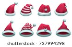 set red santa hat isolated on... | Shutterstock .eps vector #737994298