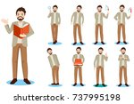 cartoon business man do... | Shutterstock . vector #737995198