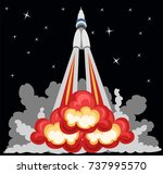 rocket takeoff | Shutterstock .eps vector #737995570