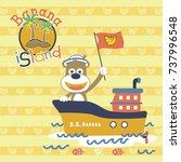 monkey on ship go to banana... | Shutterstock .eps vector #737996548
