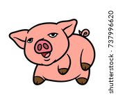 cartoon pig laying on its side | Shutterstock .eps vector #737996620