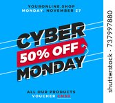 cyber monday super sale. up to... | Shutterstock .eps vector #737997880