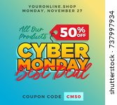 cyber monday super sale. up to... | Shutterstock .eps vector #737997934