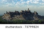 Medieval castle on a rocky hilltop crag, 3d digitally rendered illustration - stock photo