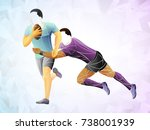 geometric player two  rugby... | Shutterstock .eps vector #738001939