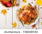 roasted turkey garnished with... | Shutterstock . vector #738008530