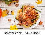 roasted turkey garnished with... | Shutterstock . vector #738008563
