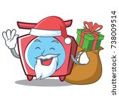 santa scale character cartoon... | Shutterstock .eps vector #738009514