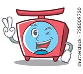 two finger scale character... | Shutterstock .eps vector #738009730