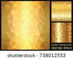 golden metallic background.... | Shutterstock .eps vector #738012553