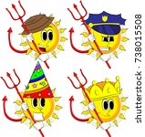 cartoon devil sun with... | Shutterstock .eps vector #738015508