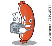 photography sausage character... | Shutterstock .eps vector #738015754