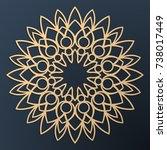 laser cutting mandala. golden... | Shutterstock .eps vector #738017449