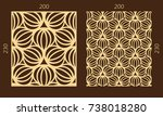 laser cutting set. woodcut... | Shutterstock .eps vector #738018280