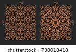 laser cutting set. woodcut...   Shutterstock .eps vector #738018418
