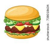 cartoon hamburger  colorful... | Shutterstock .eps vector #738018634
