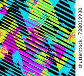 urban seamless funky geometric... | Shutterstock .eps vector #738019930
