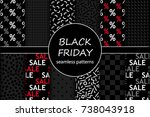 cute set of black friday sale... | Shutterstock .eps vector #738043918