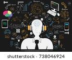 businessman necktie headphone   ... | Shutterstock .eps vector #738046924
