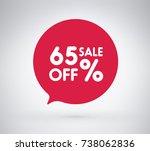 65  offer label sticker  sale... | Shutterstock .eps vector #738062836