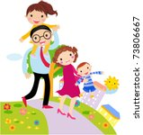 vector cartoon of happy family | Shutterstock .eps vector #73806667