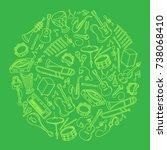 musical instrument kids hand... | Shutterstock .eps vector #738068410