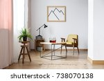 end table with three decanters... | Shutterstock . vector #738070138