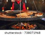 christmas market food. grilling ... | Shutterstock . vector #738071968