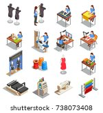 sewing factory set of isometric ... | Shutterstock .eps vector #738073408