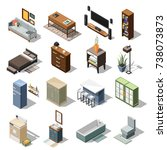 isometric interior icons... | Shutterstock .eps vector #738073873