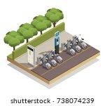 urban eco transport isometric... | Shutterstock .eps vector #738074239