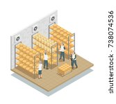 cheese aging  in controlled... | Shutterstock .eps vector #738074536