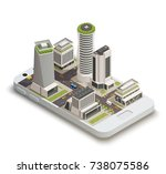 smart city center tower... | Shutterstock .eps vector #738075586