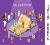 holy scripture isometric... | Shutterstock .eps vector #738075610