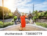 woman tourist in red dress... | Shutterstock . vector #738080779