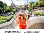 woman tourist in red dress... | Shutterstock . vector #738080830