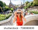 woman tourist in red dress...   Shutterstock . vector #738080830