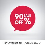90  offer label sticker  sale... | Shutterstock .eps vector #738081670
